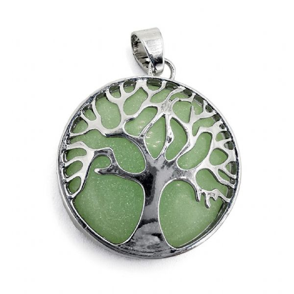 Rhodium Plated Green Glow in the Dark Tree of Life Pendant 27mm x31mm